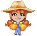 Cute Little Kid with Farm Hat Cartoon Vector Character AKA Mary - With Pumpkins