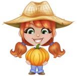 Cute Little Kid with Farm Hat Cartoon Vector Character AKA Mary - Holding Big Pumpkin