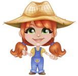 Cute Little Kid with Farm Hat Cartoon Vector Character AKA Mary - Showing with a Smile
