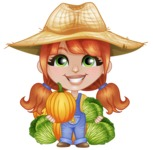 Cute Little Kid with Farm Hat Cartoon Vector Character AKA Mary - Holding Cabbage and Pumpkin