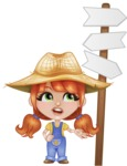 Cute Little Kid with Farm Hat Cartoon Vector Character AKA Mary - Wondering which way to choose