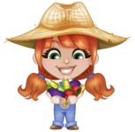 Cute Little Kid with Farm Hat Cartoon Vector Character AKA Mary - With Tomatoes, Corn,  and Eggplant