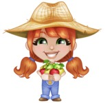 Cute Little Kid with Farm Hat Cartoon Vector Character AKA Mary - Holding Fresh Apples from Tree