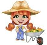 Cute Little Kid with Farm Hat Cartoon Vector Character AKA Mary - With Cart full of Big Vegetables