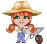 Cute Little Kid with Farm Hat Cartoon Vector Character AKA Mary - With Empty Garden Cart