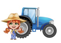 Cute Little Kid with Farm Hat Cartoon Vector Character AKA Mary - With Agrimotor