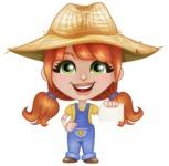 Cute Little Kid with Farm Hat Cartoon Vector Character AKA Mary - With Blank Businesscard