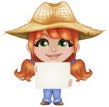 Cute Little Kid with Farm Hat Cartoon Vector Character AKA Mary - Holding Blank Presentation Sign
