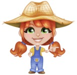 Cute Little Kid with Farm Hat Cartoon Vector Character AKA Mary - Pointing with Hands