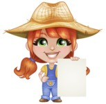 Cute Little Kid with Farm Hat Cartoon Vector Character AKA Mary - With Blank Sign