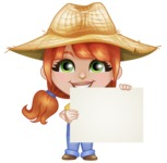 Cute Little Kid with Farm Hat Cartoon Vector Character AKA Mary - Holding Big Blank Sign and Smiling