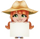Cute Little Kid with Farm Hat Cartoon Vector Character AKA Mary - Presenting A Blank Sign