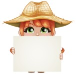 Cute Little Kid with Farm Hat Cartoon Vector Character AKA Mary - With Blank Sign Template