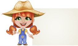 Cute Little Kid with Farm Hat Cartoon Vector Character AKA Mary - With Blank Presentation Sign