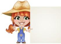 Cute Little Kid with Farm Hat Cartoon Vector Character AKA Mary - With Blank Farm Sign