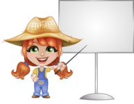 Cute Little Kid with Farm Hat Cartoon Vector Character AKA Mary - With Blank Whiteboard