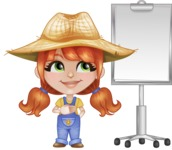 Cute Little Kid with Farm Hat Cartoon Vector Character AKA Mary - With Blank Presentation Board