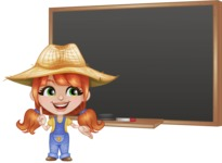 Cute Little Kid with Farm Hat Cartoon Vector Character AKA Mary - Pointing with a Pointer on Blackboard