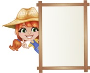 Cute Little Kid with Farm Hat Cartoon Vector Character AKA Mary - Presenting on Whiteboard