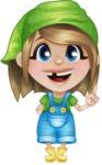 Little Farm Girl Cartoon Vector Character AKA Harper the Farm Helper - Making a Point