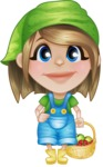 Little Farm Girl Cartoon Vector Character AKA Harper the Farm Helper - With Fresh Garden Fruits