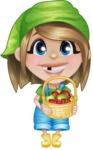 Little Farm Girl Cartoon Vector Character AKA Harper the Farm Helper - With Basket full of Apples and Strawberries