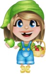 Little Farm Girl Cartoon Vector Character AKA Harper the Farm Helper - With Green and Red Apples
