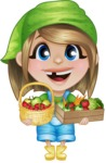 Little Farm Girl Cartoon Vector Character AKA Harper the Farm Helper - With Farm Vegetables and Fruits