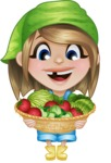 Little Farm Girl Cartoon Vector Character AKA Harper the Farm Helper - With Basket full of Vegetables