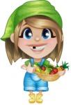 Little Farm Girl Cartoon Vector Character AKA Harper the Farm Helper - Smiling with Farm Vegetables