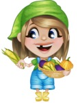 Little Farm Girl Cartoon Vector Character AKA Harper the Farm Helper - Holding Vegetables