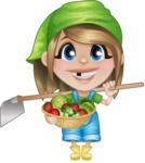 Little Farm Girl Cartoon Vector Character AKA Harper the Farm Helper - With Fresh Vegetables from the Garden