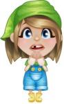 Little Farm Girl Cartoon Vector Character AKA Harper the Farm Helper - With Blank Face