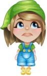 Little Farm Girl Cartoon Vector Character AKA Harper the Farm Helper - Being Tired