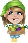 Little Farm Girl Cartoon Vector Character AKA Harper the Farm Helper - With Fresh Groceries