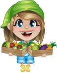 Little Farm Girl Cartoon Vector Character AKA Harper the Farm Helper - Holding Baskets with Vegetables