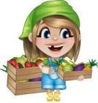 Little Farm Girl Cartoon Vector Character AKA Harper the Farm Helper - Picking Homemade Vegetables
