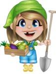 Little Farm Girl Cartoon Vector Character AKA Harper the Farm Helper - With Fresh Garden Vegetables