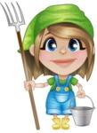 Little Farm Girl Cartoon Vector Character AKA Harper the Farm Helper - With Farming Tools