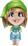 Little Farm Girl Cartoon Vector Character AKA Harper the Farm Helper - Holding Bucket