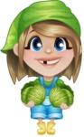 Little Farm Girl Cartoon Vector Character AKA Harper the Farm Helper - With Fresh Garden Cabbage