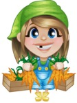 Little Farm Girl Cartoon Vector Character AKA Harper the Farm Helper - With Fresh Garden Carrots