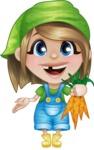 Little Farm Girl Cartoon Vector Character AKA Harper the Farm Helper - Picking Carrots