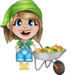 Little Farm Girl Cartoon Vector Character AKA Harper the Farm Helper - With Cart full of Big Vegetables