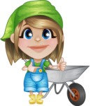 Little Farm Girl Cartoon Vector Character AKA Harper the Farm Helper - With Empty Garden Cart
