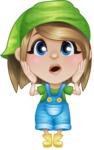 Little Farm Girl Cartoon Vector Character AKA Harper the Farm Helper - With Confused Face