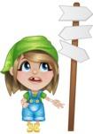Little Farm Girl Cartoon Vector Character AKA Harper the Farm Helper - Wondering which way to choose