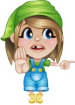 Little Farm Girl Cartoon Vector Character AKA Harper the Farm Helper - Pointing with a Finger