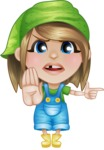 Little Farm Girl Cartoon Vector Character AKA Harper the Farm Helper - Finger pointing with angry face