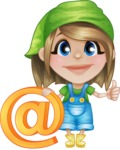 Little Farm Girl Cartoon Vector Character AKA Harper the Farm Helper - With Email Sign for Online Contact